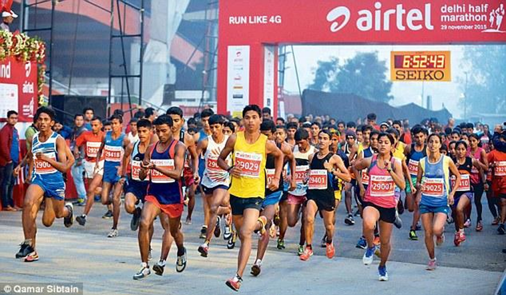 Pure Skies ensured that the runners at Delhi's half-marathon were able to breathe clean air. Image Courtesy: mybestruns.com